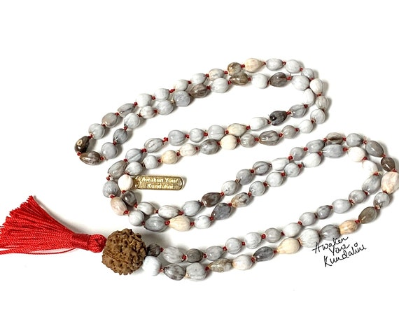 Vaijayanti Mala Beads Necklace, Vaijanti seeds beads 108 India Prayer mala, Job's tears mala, 108 Prayer beads, Hindu buddhist tibetan mala