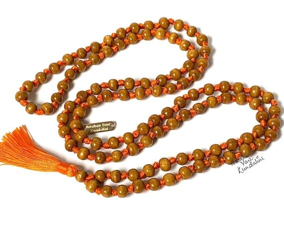 108 Tulsi Holy Basil Hand Knotted Mala Beads Necklace Karma Nirvana Meditation Prayer Beads, For Awaken Your Kundalini Chakra