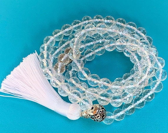 Brilliant Diamond Cut Energized Genuine  natural Crystal Quartz Handmade Mala Beads Necklace - 8mm Beads For Meditating & Amplification of E