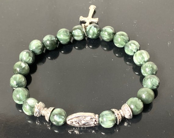 AAA grade Serephinite Miraculous Virgin MaryCharm, Miraculous Medal, Blessed Mother, Mother Mary, Spiritual Jewelry Healing Crystal Bracelet
