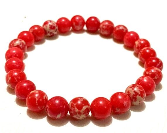 8mm Red Sea Sediment Rock Bracelet, Christmas bracelet