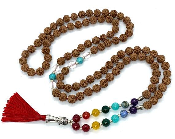 5 Mukhi Rudraksha - Five Face Rudraksha 5 Face Rudraksh mala bead necklace, 7 chakra mala, knotted mala, Rudraksha chakra mala