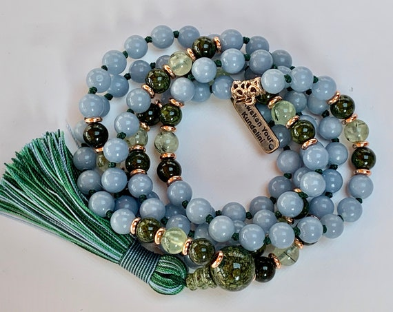 Celestial Anhydrite Angelite knotted necklace Serpentine Prehnite stone mala bead Angels Stone healing crystals Protection crystals jewelry