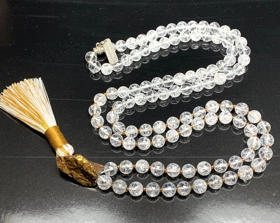 Himalayan Crackled Crystal Quartz knotted mala beads Necklace 8 mm Natural Genuine 108 beads Third Eye Chakra Nirvana Quartz Jaap Japa Mala