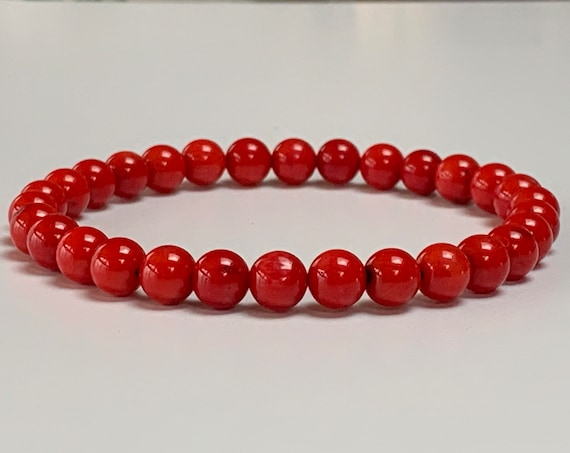 Red Natural Coral Wrist Mala Beads Bracelet - Attract love Assists clear reasoning Inventiveness Balanced opinion Truthfulness