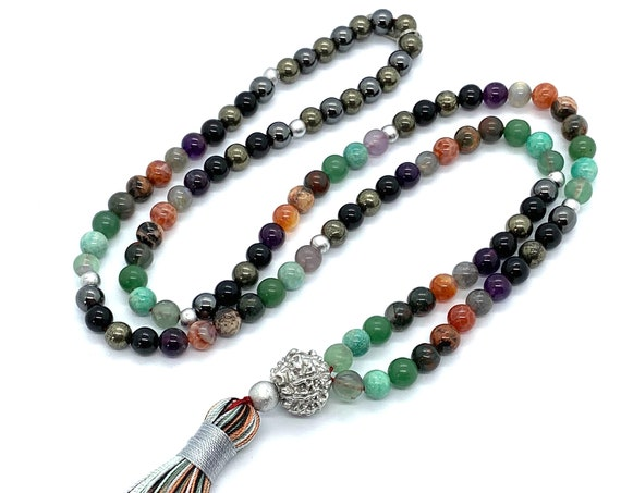 EMF Protection crystals mala beads necklace energy aura protection total energy and psychic protection destroy chemtrails chembuster