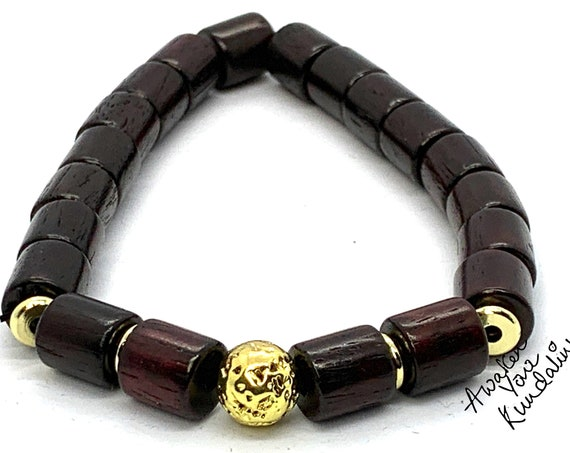 AAA Red Tube Rosewood Bead Bracelets Diffuser Jewelry stack, quartz bundle, Drum shaped young living, aroma therapy, AAA Sandalwood Gemstone