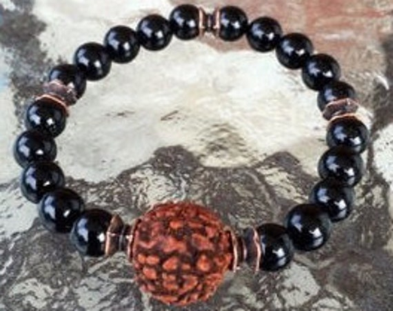 Black Onyx bracelet Rudraksha bead seed mens jewelry mens gifts for him gifts for boyfriend wedding gift for men best gifts for groom dad