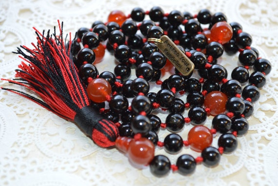 Black Onyx & Red Onyx Mala Beads Necklace Prayer Beads Yoga gifts Energized 6 mm 8 mm 10 mm