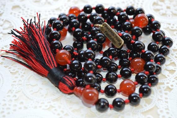 Energized 6 mm 8 mm 10 mm Black Onyx & Red Carnelian Mala Beads Necklace Prayer Beads 108 Mala Necklace Black Mala Knotted Mala Beads Yoga