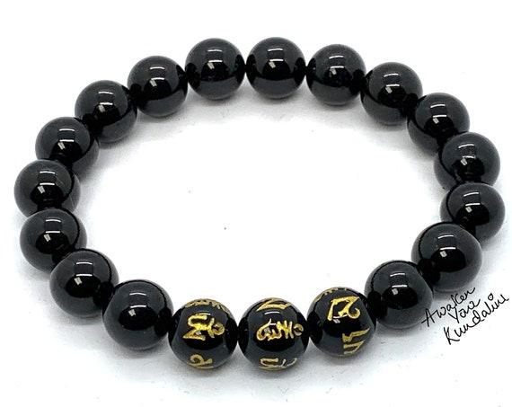Black Obsidian Bracelet Om Mani Padme Hum Mantra Meditation Bracelet Yoga Mala Chakra 10mm Natural Gemstone Beaded Stretch Bracelet