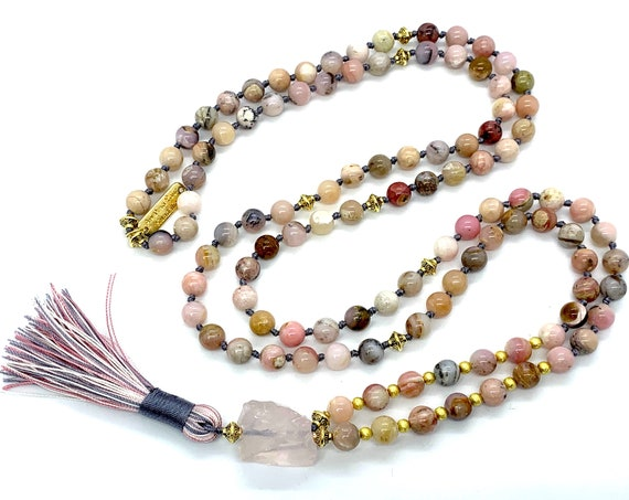 AAA grade Opal Necklace Pink Opal Mala beads Necklace Opal Jewelry October Birthstone Dainty Necklace  Love & Relationships Peace, Self care