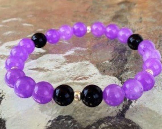 8 mm Black Onyx Purple Agate Wrist Mala Beads Healing Bracelet -Blessed Karma Nirvana Meditation Prayer Beads For Awakening Chakra Kundalini
