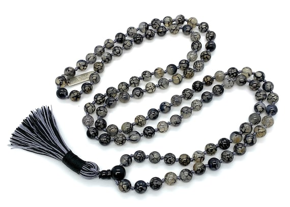 Gray Dragon Vein Agate Mala Beads Necklace Dragon Veins Agate knotted necklace for men women Agate Necklace Black and white agate AAA grade