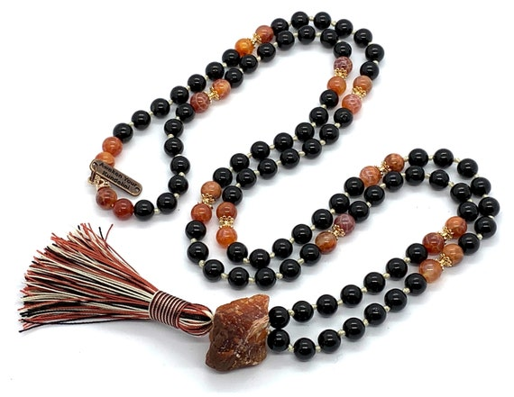 PSYCHIC PROTECTION Black Tourmaline Necklace Fire Agate Knotted Tassel Tourmaline Mala Prayer Beads 108 Meditation Mala for Empaths Yoga Bea