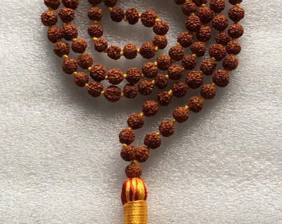 Rudraksh, Rudraksha, Hand Knotted, Mala Beads, Necklace -Energized, Karma, Nirvana Meditation 6mm 8mm 108 Prayer Beads Awakening Chakras
