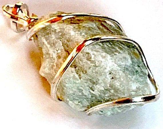 Green Aventurine Necklace, Taurus Birthstone, Genuine Gemstone Nugget Pendant Necklace, Aventurine Rough, Crystal Necklace, Bride Wedding