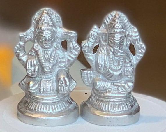 Shri Lakshmi, Ganesha Idol Pure silver Parad gift items Pooja Items, Mercury, Return Gift for Navaratras, Diwali, Wedding and Housewarming