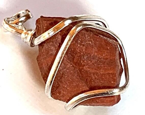 Raw Red Jasper Necklace, November Birthstone, Genuine Gemstone Nugget Pendant Necklace, Jasper Rough, Crystal Necklace, Bride Wedding Neckla
