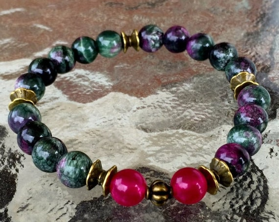 Anyolite or Green Ruby Zoisite Magenta Jade Wrist Mala Beads Healing Bracelet to enhance the connection between your Brain and your heart