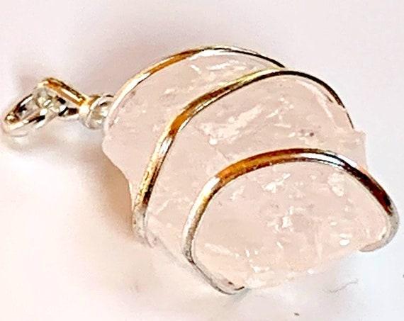 Pink Rose Quartz Necklace, Taurus  Birthstone, Genuine Gemstone Nugget Pendant Necklace, Rose Quartz Rough, Crystal Necklace, Bride Wedding
