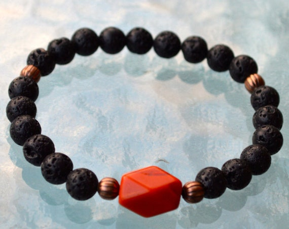 8mm Black Basalt Lava Red Jasper Bracelet Anxiety Diffuser Bracelet Lava Bracelet Healing Crystal Bracelet Calming Bracelet Stress Relief