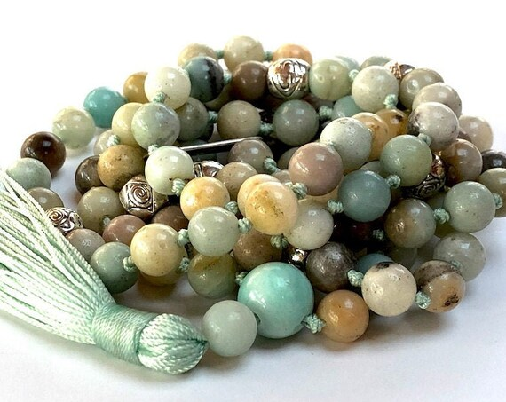 108 AAA Grade Amazonite Mala Beads Necklace for Stress Relief Healing Spirituality, Detox protection, Amazonite Mala, Amazonite Jewelry