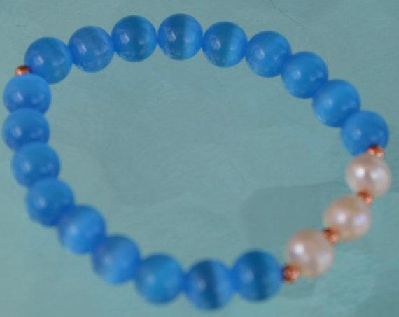 8mm Pure Fresh Water Pearl Blue Cat's eye Glass Beads braceletChristmas