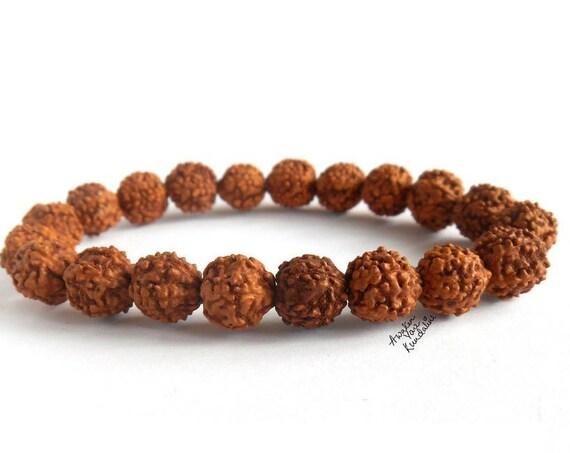 Rudraksha Stretch Protection Bracelet Yoga Gifts Energized Prayer Beads Bracelet, Mens Womens Healing Bracelet, Gift for Him Gift for Her