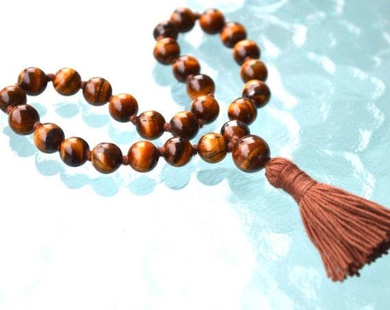 Tiger Eye Mini Pocket Travel Mala Prayer Beads 27, Japa, Mantra, Meditation, Tiger Eye, Grounding, Peace, Healing, Calming, Brown and Gold
