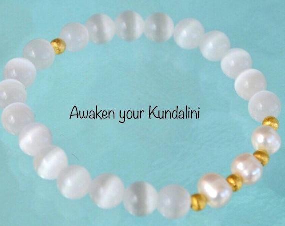 8mm Pure Fresh Water Pearl White Cat's eye Glass Beads bracelet