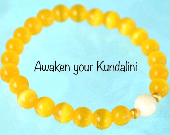 8mm Pure Mother of Pearl Yellow Cat's eye Glass Beads bracelet