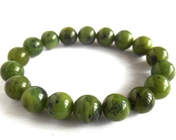 Green Jade Bracelet Men & Women Canadian Nephrite Jade Bracelet Jade Jewelry, Jadeite Bracelet, Green Jade Beads Bracelet Nephrite Jewelry