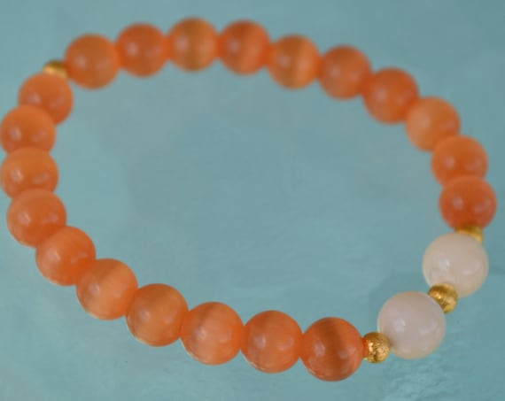 8mm Pure Fresh Water Pearl Orange Cat's eye Glass Beads bracelet