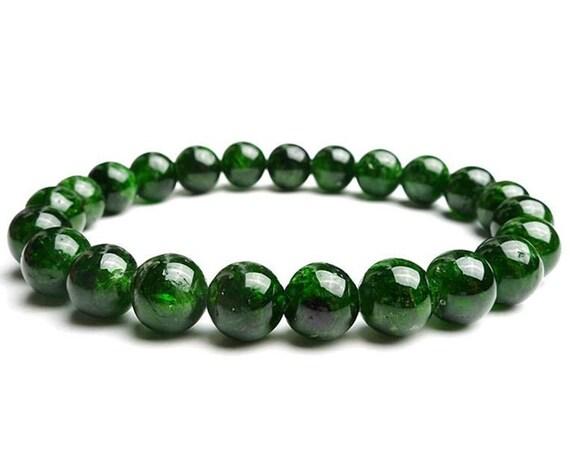 chrome diopside bracelet, gemstone bracelet, dainty, beaded bracelet, green stone bracelet, heart chakra, healing bracelet, diopside jewelry