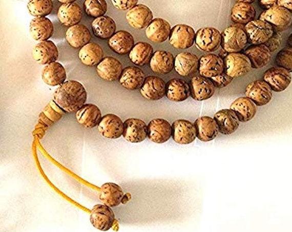 Tibetan Rare Nepal Jewelry Bodhi seed Mala 108 bead necklace Phoenix eye guru bead with adjustable knot Rare mala buddha chitta