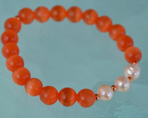 Mala Bracelet - Wrist Mala - Healing Orange Cat's Eye Bead Yoga Bracelet with Pearls
