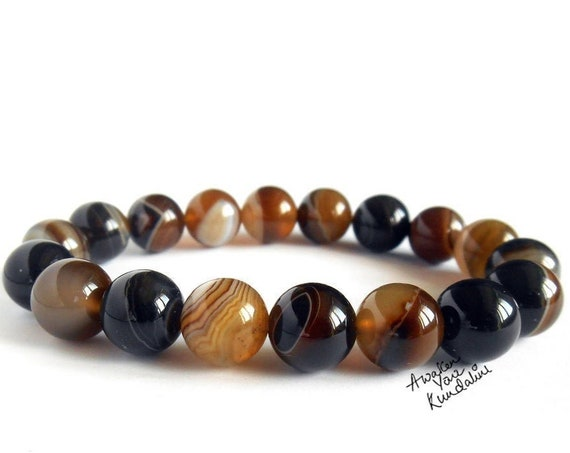 8 mm Brown Banded Agate Gemstone Bracelet Gift for Her & Him Mens Beaded Bracelet Gift, Fathers Day Gift, Boyfriend Gift, Best Friend Gifts