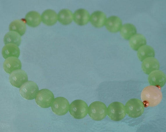 8mm Pure Mother of Pearl Green Cat's eye Glass Beads bracelet