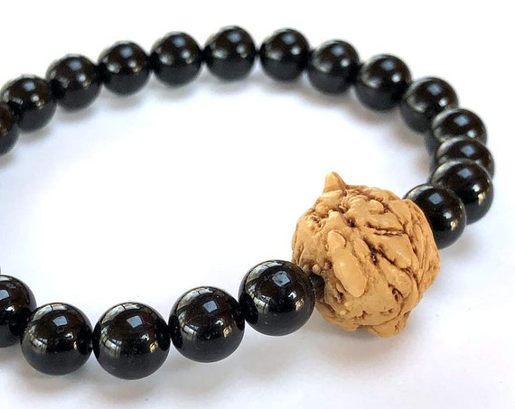 EMPATH Black Tourmaline Mala Bracelet Natural Bodhi Seed Schorl Bracelet EMF Protection Protection from Psychic attack Root Chakra Healing