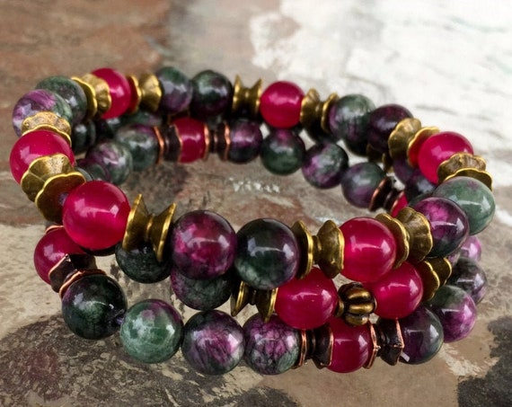 Anyolite Green Ruby Zoisite Fuchsite Beaded Healing Bracelet July birthstone ruby to enhance the connection between your Brain & your heart