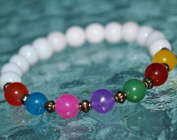 7 Chakra Bracelet Healing Energy beaded Anxiety Bracelet Chakra Beads Stones Bracelet White Jade Bead Bracelet Yoga Mala Crystal Bracelet