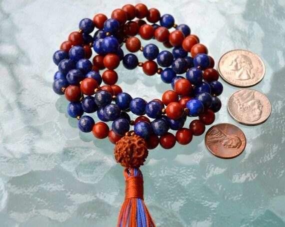 Energized Rudraksha, Jasper, Lapis Lazuli Mala beads Necklace, Lapis Jewelry, Red Jasper Mala - Truth and Enlightenment, Third Eye Chakra