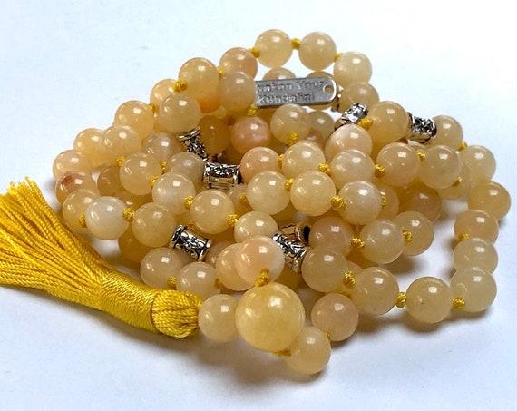 Cyber Monday Sale 8 mm AAA Grade Yellow Calcite Mala Beads Necklace, Calcite Jewelry, Calcite Wrap Mala, Calcite knotted mala beads,
