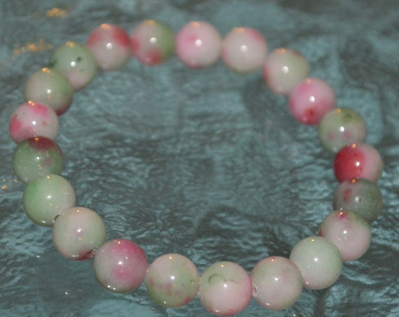 Cyber Monday Sale Mixed Jade Pink white green 8 mm Mala Beads Bracelet - increased mercy, unselfishnes, manifestation, heart chakra, love