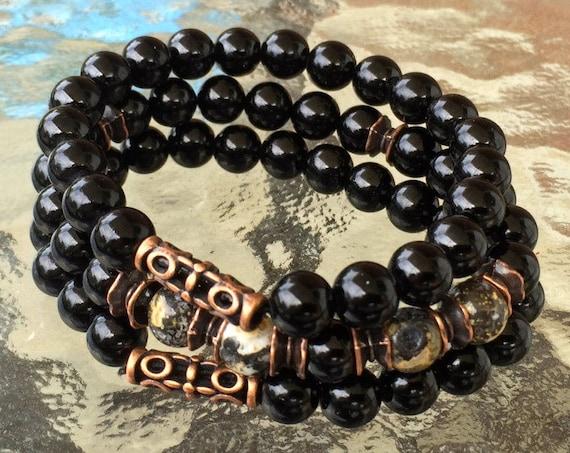 Black Tourmaline bracelet minimalist gemstone bracelet black crystal bracelet for women black tourmaline jewelry stack bracelet gift for her