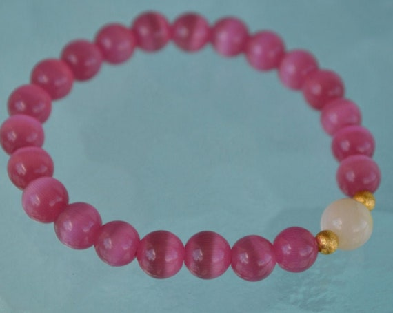 8mm Pure Mother of Pearl Pink Cat's eye Glass Beads bracelet