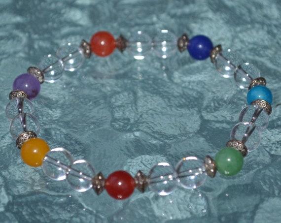 8mm Mala Chakra bracelet or necklace, Chakra bracelet, Mala bracelet, Crystal bracelet, 7 chakra, Yoga bracelet, Meditation bracelet