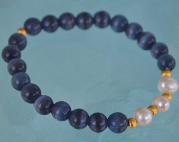 8mm Pure Fresh Water Pearl Blue Cat's eye Glass Beads bracelet