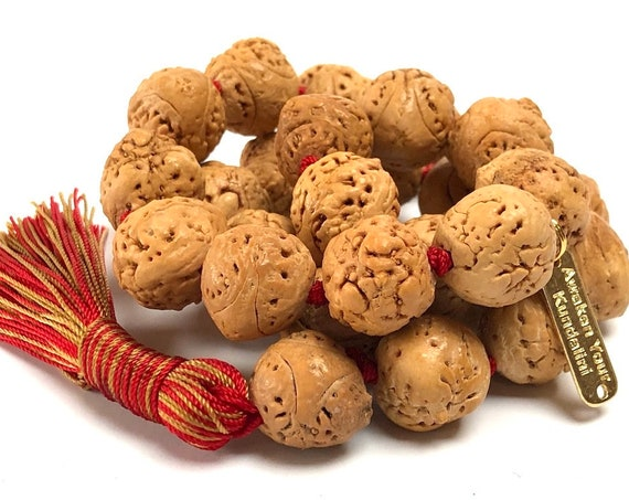 Bodhi mala beads necklace Buddhist Meditation beads 14-16 mm 27+1 Beads Pocket mala Genuine Bodhiseed mala beads  - w/Velvet mala pouch
